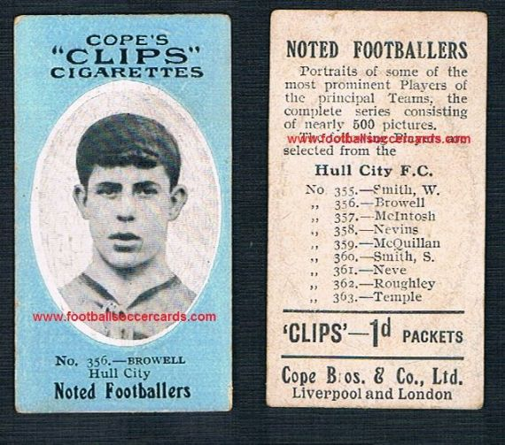 1909 Cope Brothers Noted Footballers 500 series Browell Hull City 356\